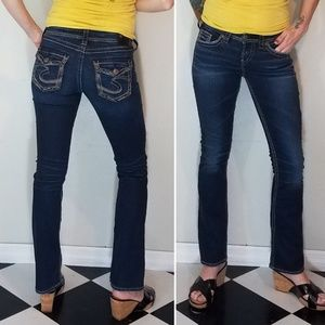 Silver Aiko Mid slim boot jeans dark wash size 26